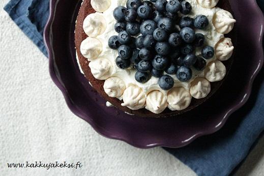 Mustikoilla ja marengeilla koristeltu suklaakakku