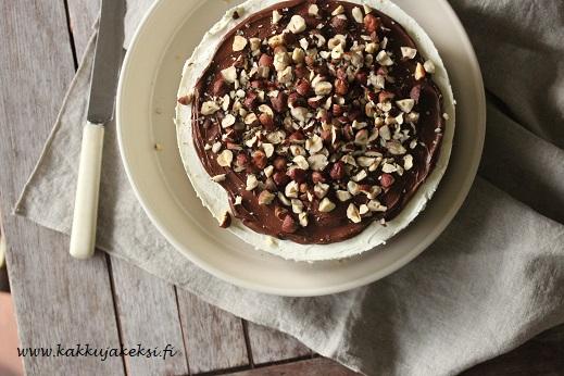 Vaniljainen mascarponekakku Nutella-kuorrutuksella